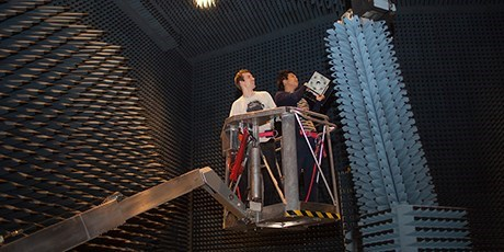 Students working in the radio anechoic chamber